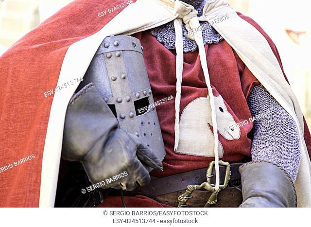 Medieval hull of a Knight Templar, detail of a metal helmet. in Spain