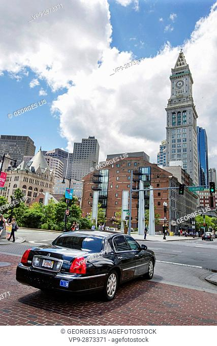 Limousine and downtown skyline from Rose Kennedy Greenway Boston MA USA Massachussets