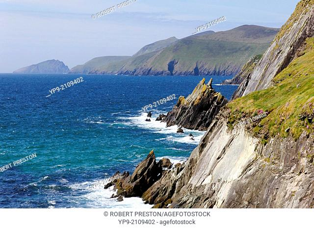 The coastline of the Dingle Peninsula in County Kerry, Ireland