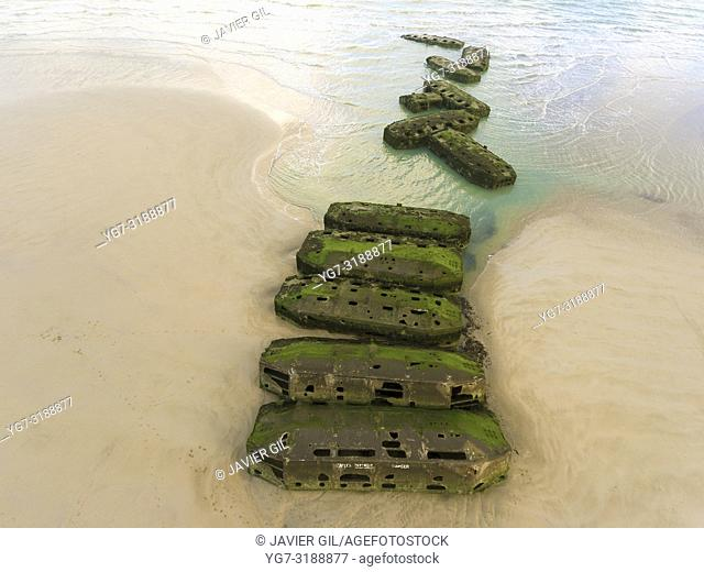 Remains of Mulberry Artificial Harbour from D-Day invasion, Arromanches les Bains, Normandy, France