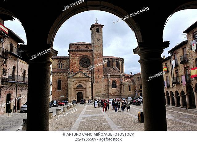 Cathedral of Santa Maria and Main Square. Siguenza, Guadalajara, Spain
