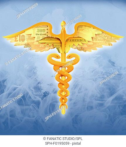 Illustration of caduceus symbol with currency wings