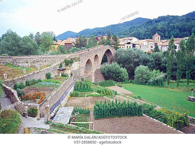 Market garden, medieval bridge and overview of the village. Sant Joan de les Abadesses, Gerona province, Catalonia, Spain