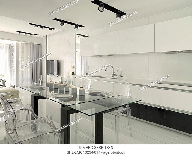Large glass dining table in kitchen