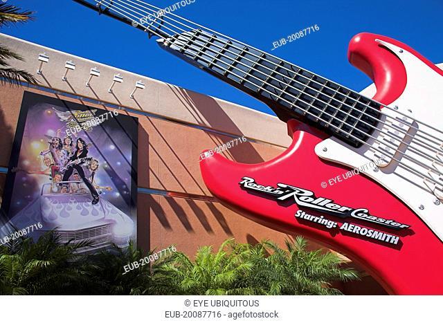 Walt Disney World Resort. Guitar outside the Aerosmith Rock N Roller Coaster ride on Sunset Boulevard in Disney MGM Studios