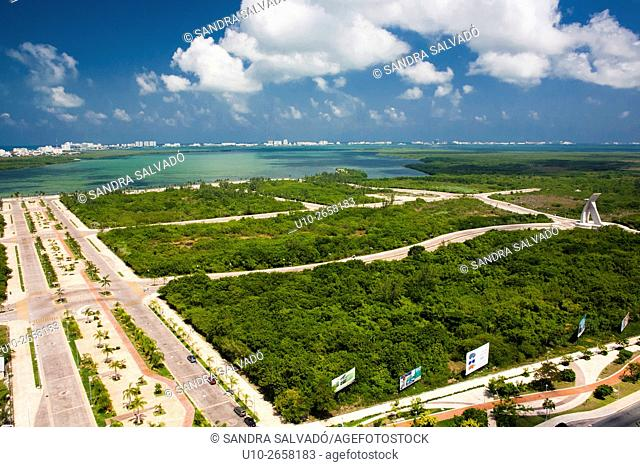 Aerial view of Nichupte Lagoon and Malecon Tajamar, Cancun, Quintana Roo, Mexico