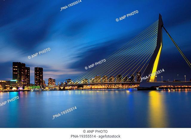 Erasmusbrug, Nieuwe Maas, Meuse, Rotterdam , South Holland, The Netherlands, Holland, Europe