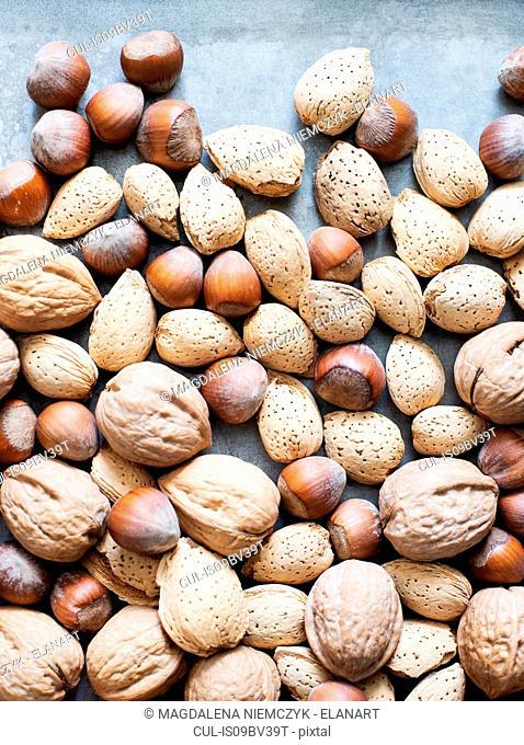 Walnuts and almonds in shell, hazelnuts