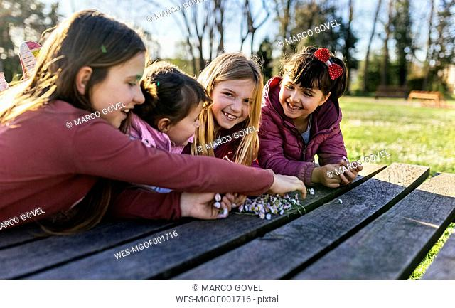 Four girls on a boardwalk with their collected daisies
