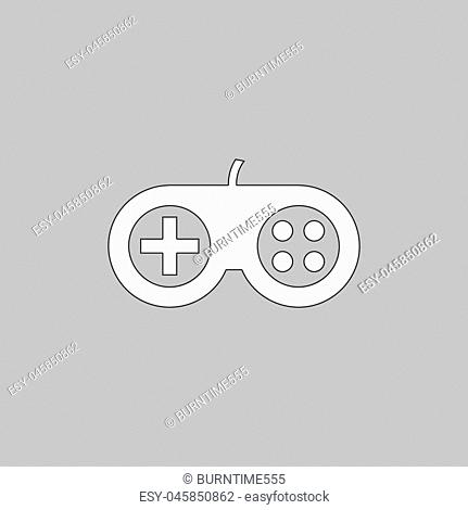 Joystick Simple line vector button. Thin line illustration icon. White outline symbol on grey background