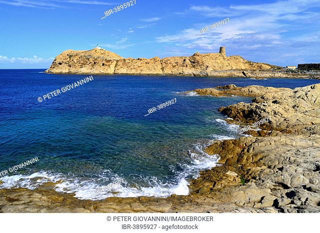 Island Île de la Pietra with the lighthouse and the Genoese tower, L'Île Rousse, Balagne, Corsica, France