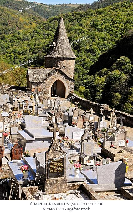 Cemetery, Sainte-Foy abbey church, Conques, Aveyron, Midi-Pyrenees, France