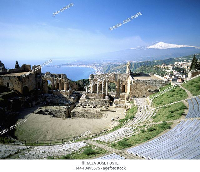 10495575, Greek theater, Italy, Europe, culture, Sicily, Taormina, volcano Etna
