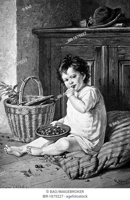 Child eating cherries, historical illustration, circa 1886