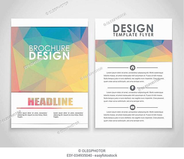 Design brochures (flyers) with polygonal gold background. Vector illustration