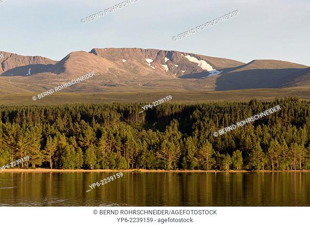Loch Morlich with mountains of the Cairngorms National Park, Scotland