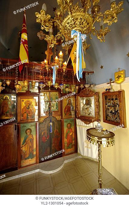 Interior of traditional Greek Orthodox church, Chora, Mykonos, Cyclades Islands, Greece
