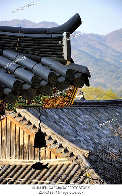 Wooden roof at the buddhist temple of Haeinsa. South Korea, South Gyeongsang Province (Gyeongsangnam-do), Gayasan