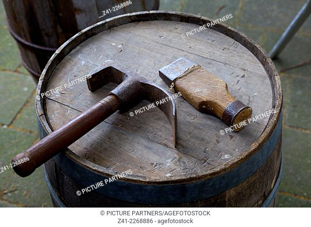 Traditional tools of a barrel-maker in Holland