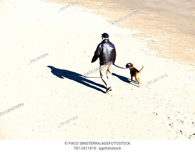 Man walking the dog, Beach, The Algarve, Portugal