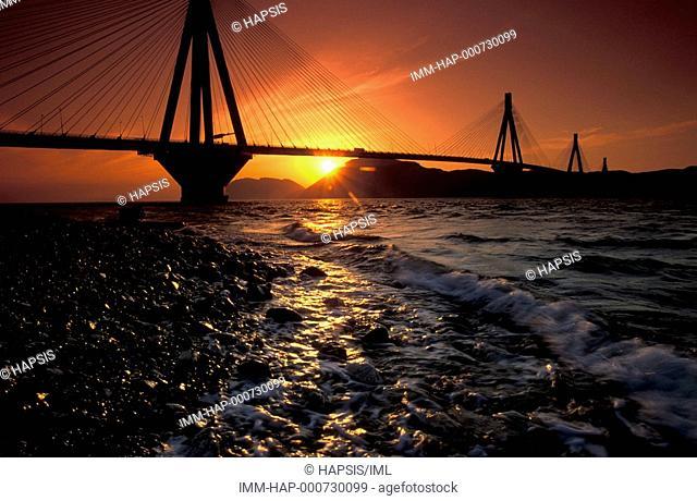 Rio-Antirio Bridge, view, sunset, Rio, Achaia, Peloponnese, Greece