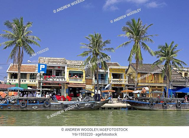 Riverfront Hoi An historic town noted for tailoring and handicrafts mid Vietnam