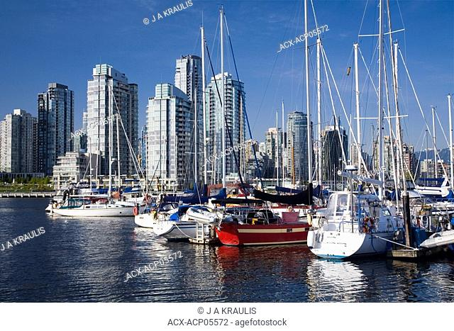 Boat marina in False Creek and downtown condominiums, Vancouver, British Columbia, Canada