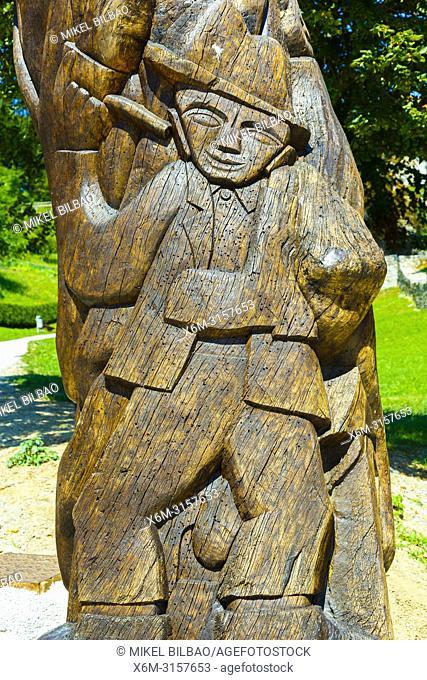 Wooden sculpture in Loka Castle. Skofja Loka. Upper Carniola region. Slovenia, Europe