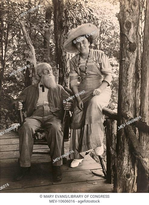 Jessie T. Beals with John Burroughs. Photograph shows Beals and Burroughs sitting on porch at Burroughs' summer cabin, Slabsides, in West Park, New York