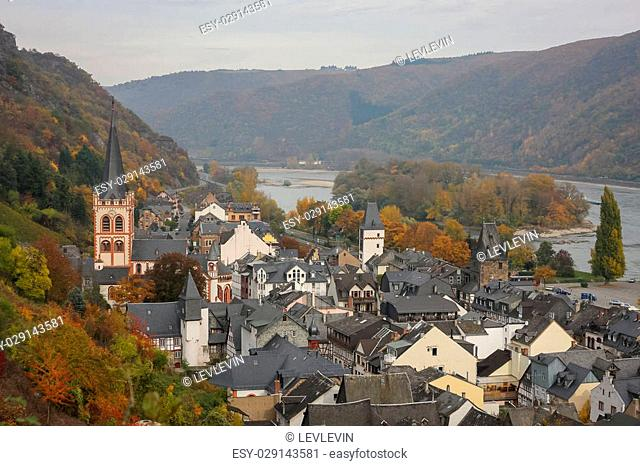 Aerial view of Bacharach, Rhine Valley, Germany