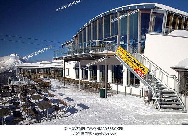 Rosshuette mountain station, 1760m, panorama terrace, restaurant, Seefeld, Tyrol, Austria, Europe