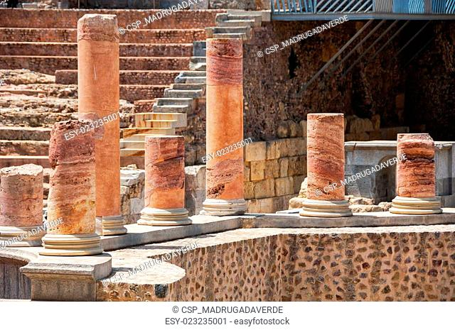 Row of columns in Roman theater in Cartagena, Spain
