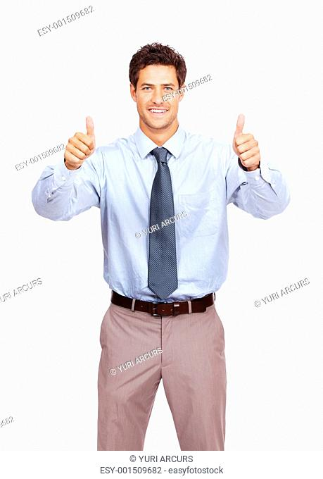 Portrait of a happy young business man showing thumbs up sign over white background