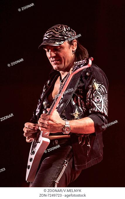 DNIPROPETROVSK, UKRAINE – OCTOBER 31: Matthias Jabs from Scorpions rock band performs live at Sports Palace SC Meteor. Final tourconcert on October 31