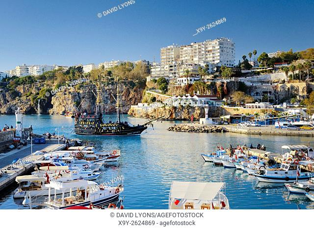 Kaleici is the historic centre of the city of Antalya, Turkey. NW over the old harbour and marina on the Mediterranean coast