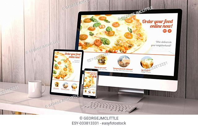 Digital generated devices on desktop, responsive blank mock-up with pizza delivery website on screen. All screen graphics are made up