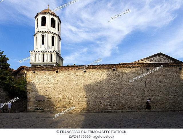 View of the bell tower of the church of St. Konstantin and Elena Church. Plovdiv, Bulgaria