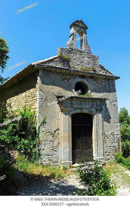 Medieval village of Oppede le Vieux, Chapel, Vaucluse, Provence Alpes Cote d'Azur region, France