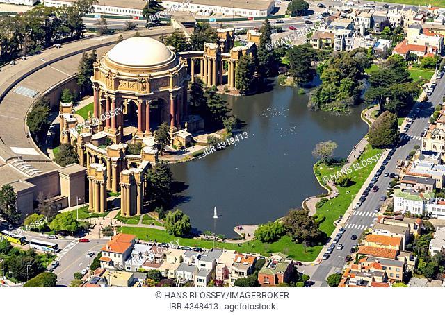 Aerial view, Palace of Fine Arts, Theater, Presidio, San Francisco, San Francisco Bay Area, California, USA