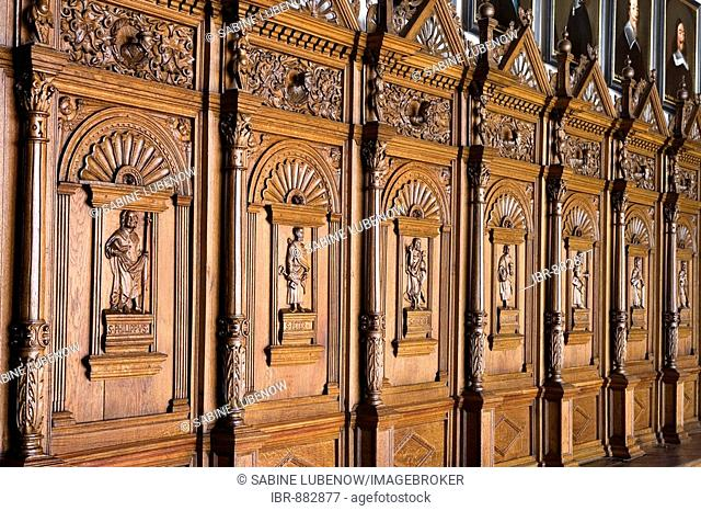Carvings on the walls of Friedenssaal, peace hall in the city hall, Muenster, North-Rhine Westphalia, Germany, Europe