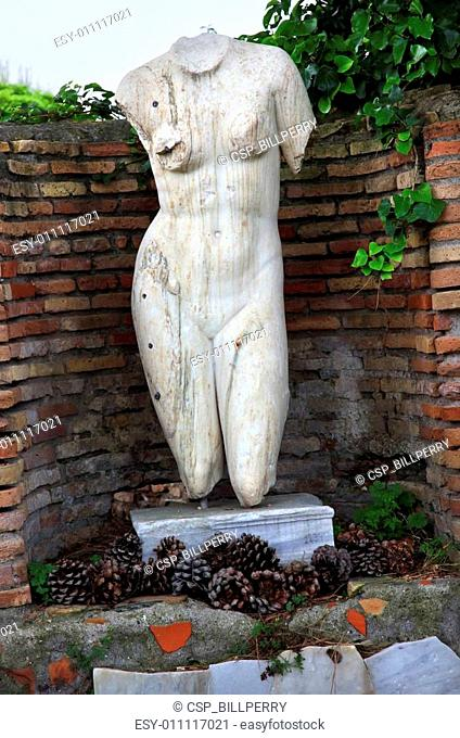 Ancient Roman Nude Woman Statue Ostia Antica Rome Italy