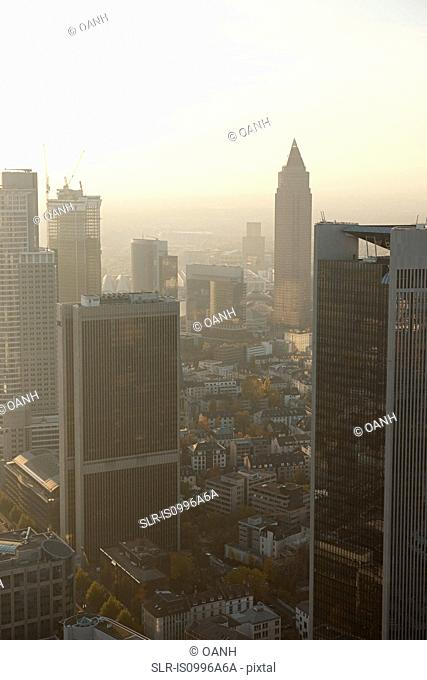 Aerial view of Frankfurt business district at sunset, Germany