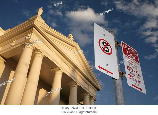 Holy Rosary Catholic Church and street signs, Bundaberg, East Coast, Queensland, Australia