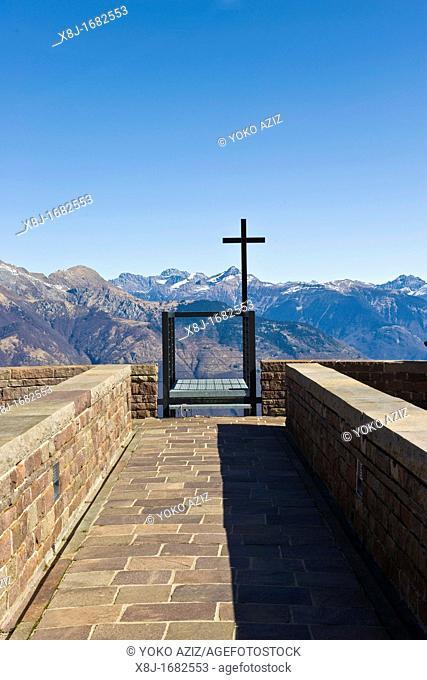 Santa Maria degli Angeli church, Mario Botta, Alpe Foppa, Monte Tamaro, Canton Ticino, Switzerland