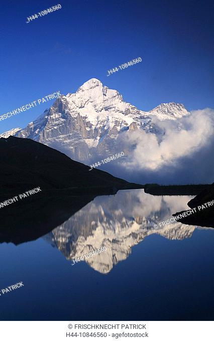 Swiss Alps, reflection, Bachalpsee, lake, water, Wetterhorn, fog, clouds, summer, First, Grindelwald, Bernese Oberland