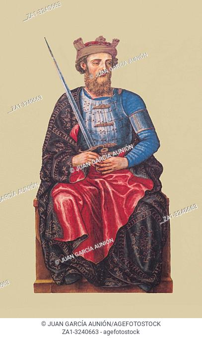 King John I of Castile portrait, painted from Portrait Kings Book of 1594, Reproduction at Luis de Morales Museum, Badajoz