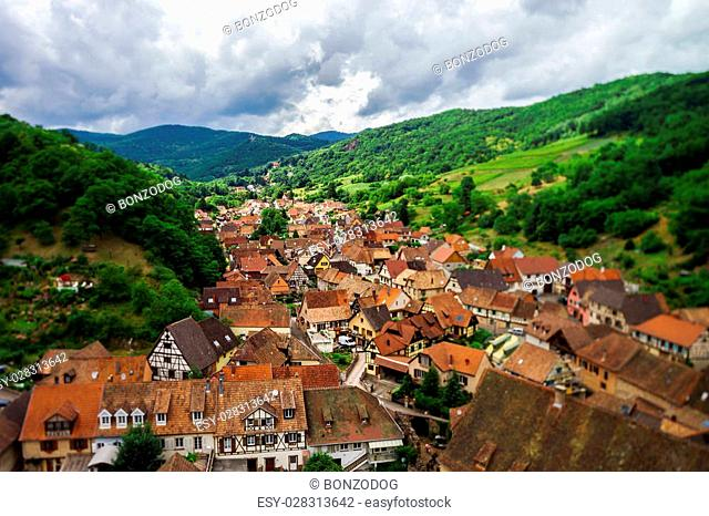 Wide panoramic bird-fly view. Alsace hills. France. Agriculture and nature