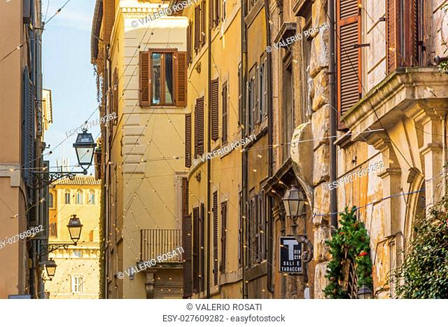 Rome, Italy, december 2014: Via dei Coronari is a street in the historic center of Rome. It is one of the most picturesque roads of the old city
