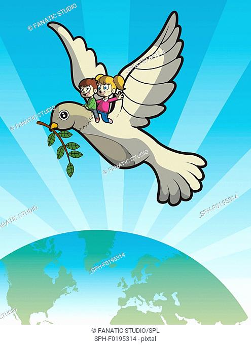 Illustration of kids on dove over earth
