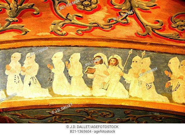 15th century wall paintings of the Notre-Dame-de-Garaison abbey, Hautes-Pyrenees, Midi-Pyrenees, France